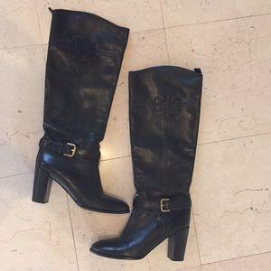 Tory Burch black leather heel boots calf 7.5 71/2